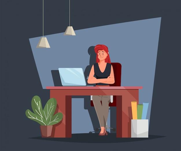 Donna di affari che lavora con un computer portatile allo scrittorio. carattere di uomini d'affari.