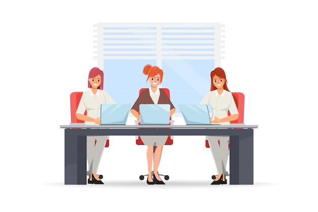 Donna di affari che lavora con un computer portatile. gruppo di personaggi del lavoro di squadra.