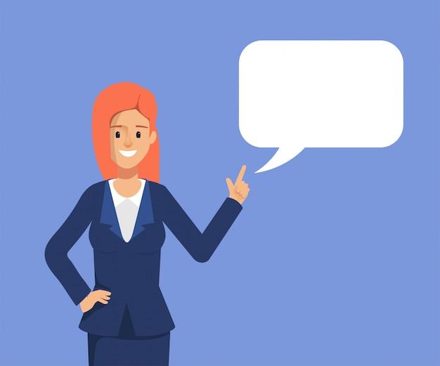 Donna di affari che parla con il discorso della bolla.