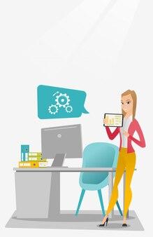 Donna di affari che presenta rapporto sulla compressa digitale.