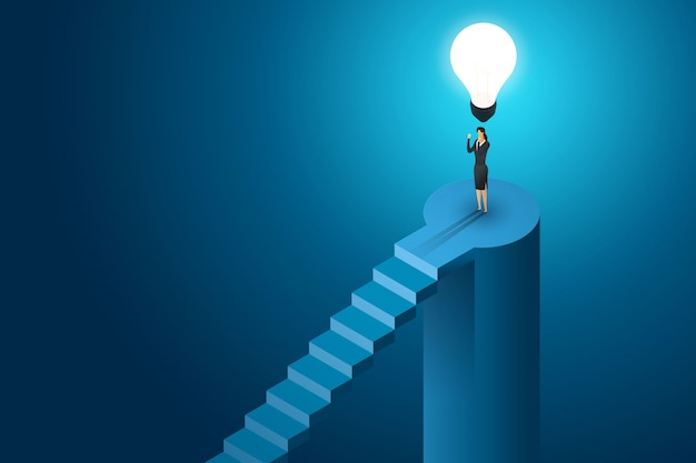 Donna di affari che sta sotto la soluzione e la visione creative di concetto della lampadina, successo di ambizione. illustrazione isometrica piatta