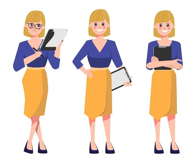 Donna di affari che tiene le carte di un documento della lavagna per appunti nella routine di lavoro.