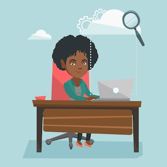 Donna di affari che usando le tecnologie di computazione della nuvola.