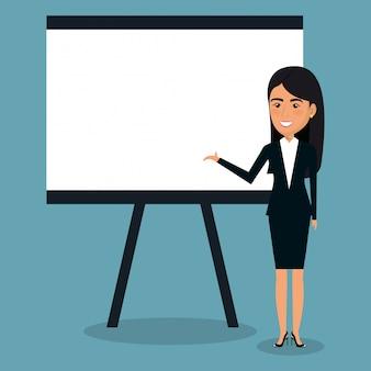 Donna di affari con cartone per l'illustrazione di presentazione