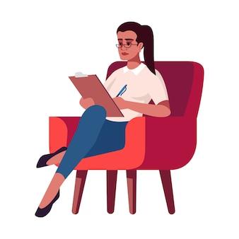 Donna di affari con l'illustrazione della lavagna per appunti