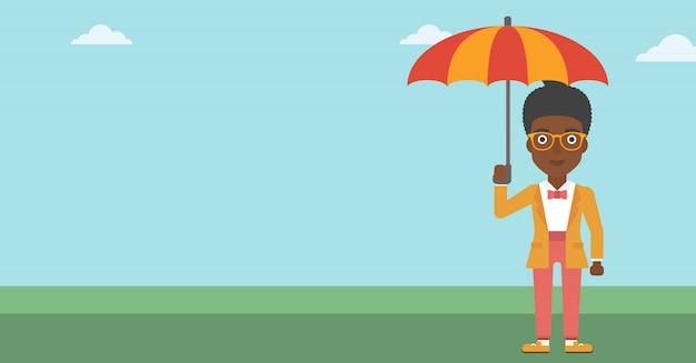 Donna di affari con l'illustrazione di vettore dell'ombrello.