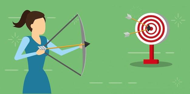 Donna di affari con la freccia dell'arco e l'obiettivo, stile piano