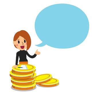 Donna di affari con la grande pila della moneta e fumetto