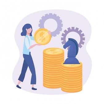 Donna di affari con le monete e gli scacchi del cavallo con gli ingranaggi