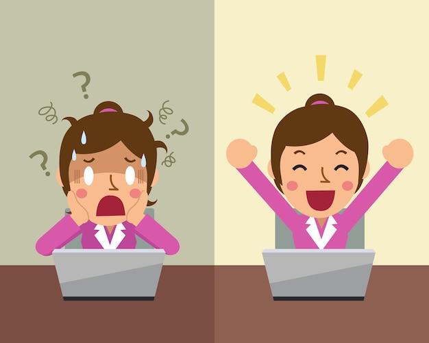 Donna di affari del fumetto che esprime emozioni diverse