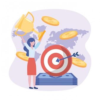 Donna di affari e obiettivo con la freccia e fatture e monete