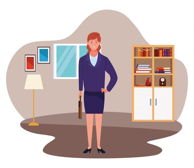 Donna di affari esecutiva con il fumetto della cartella