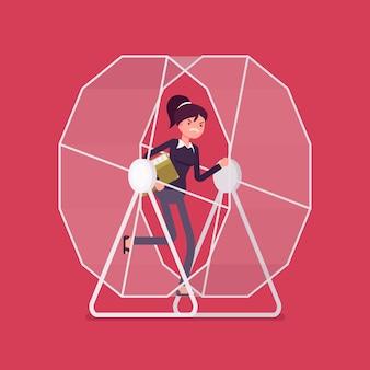 Donna di affari in una ruota del criceto