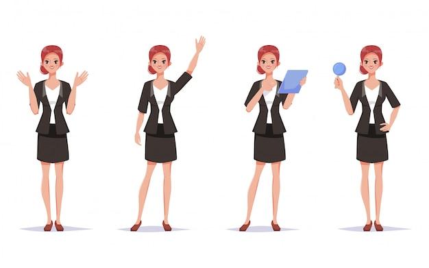 Donna di affari in vestito che fa routine di lavoro. carattere di donna impiegato.