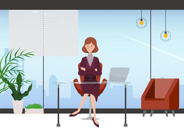 Donna di affari nel disegno interno della stanza dell'ufficio. personaggio disegnato a mano poeple. posto di lavoro di ufficio