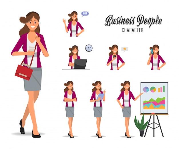 Donna di affari nel set di caratteri di routine quotidiana di lavoro e stile di vita.
