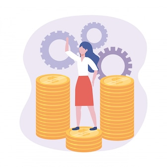 Donna di affari nelle monete con informazioni digitali degli ingranaggi