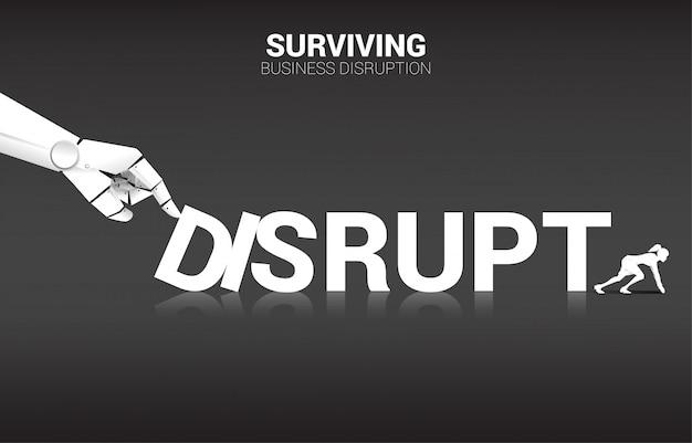 Donna di affari pronta a scappare dall'effetto domino dalla mano del robot. concetto di business di interruzione dell'ia per rendere la crisi di carriera ..
