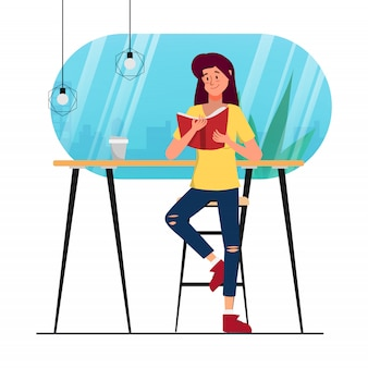 Donna di animazione del personaggio che legge un libro nel negozio della biblioteca del caffè.