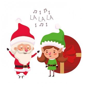 Donna di babbo natale ed elfo con scatola regalo