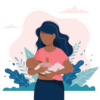 Donna di colore che allatta al seno un bambino con la natura e le foglie.