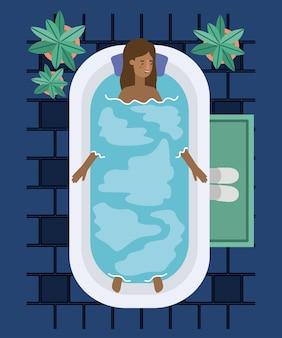 Donna di colore che prende una progettazione dell'illustrazione di vettore della vasca da bagno
