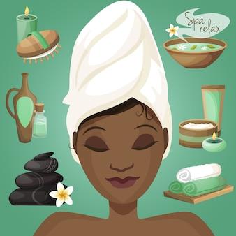 Donna di colore nella spa