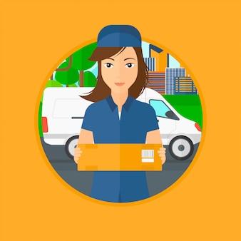 Donna di consegna che trasporta le scatole di cartone.