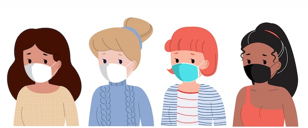 Donna di diverse razze avatar utilizzando la maschera per evitare il virus corona.