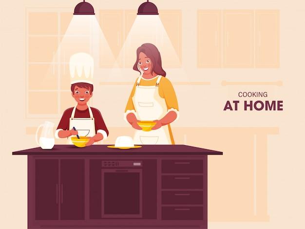 Donna di felicità che aiuta suo figlio a preparare il cibo in cucina a casa durante il coronavirus. può essere utilizzato come poster.