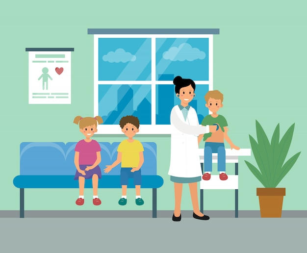 Donna di medico del pediatra che fa visita medica dell'illustrazione dei bambini