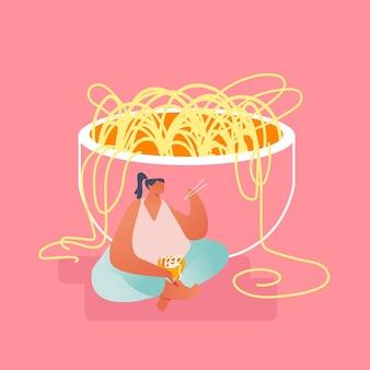 Donna di peso eccessivo che si siede nella posizione del loto sul pavimento alla ciotola enorme che mangia le tagliatelle con le bacchette di legno. cucina orientale e concetto di cibo cinese, piatto del fumetto di gastronomia asiatica