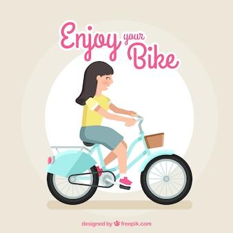Donna di smiley che va in bicicletta con il disegno piatto