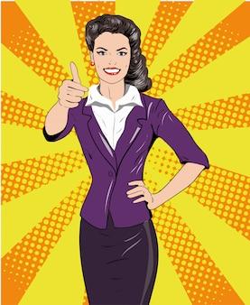 Donna di stile retrò pop art che mostra pollice sul segno della mano. illustrazione disegnata a mano comica di progettazione.