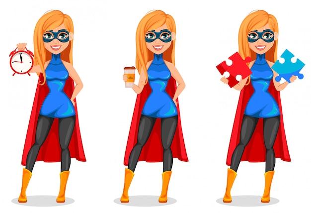 Donna di successo che indossa il costume da supereroe