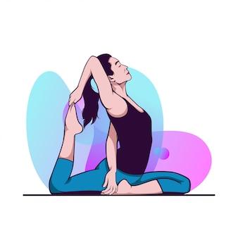 Donna di yoga con fondo liquido astratto