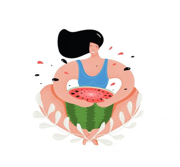 Donna divertente che mangia l'illustrazione piana dell'anguria.