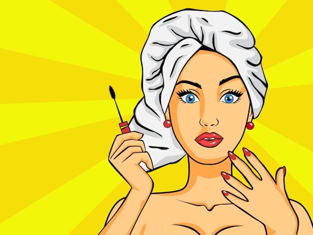 Donna dopo una doccia in stile pop art. la signora vintage con un asciugamano sulla testa applica i cosmetici sul viso. illustrazione