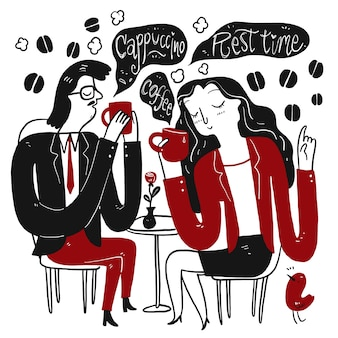 Donna e uomo che beve il caffè durante una pausa nel pomeriggio per rilassarsi. raccolta di disegnati a mano, illustrazione vettoriale in stile doodle schizzo.