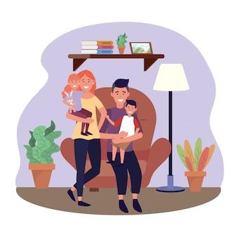 Donna e uomo con la loro figlia e il figlio sulla sedia