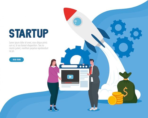 Donna e uomo con start up razzo e sito web design vettoriale
