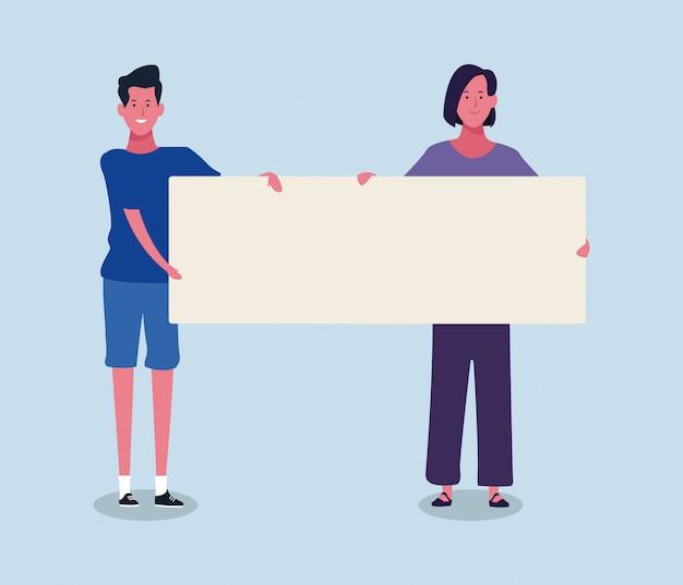 Donna e uomo del fumetto con il cartello in bianco