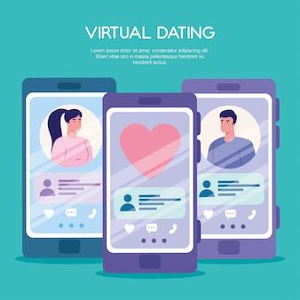 Donna e uomo in chat in smartphone con un cuore simile
