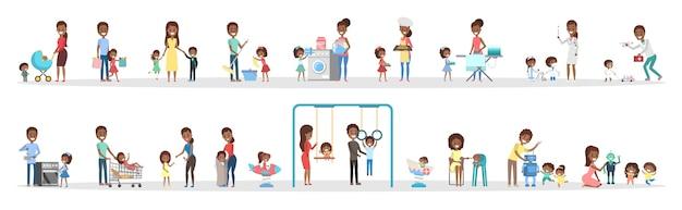 Donna e uomo pulire la casa e fare i lavori domestici con i bambini insieme. casalinga che fa la routine domestica quotidiana ei bambini la aiutano. illustrazione vettoriale piatto isolato