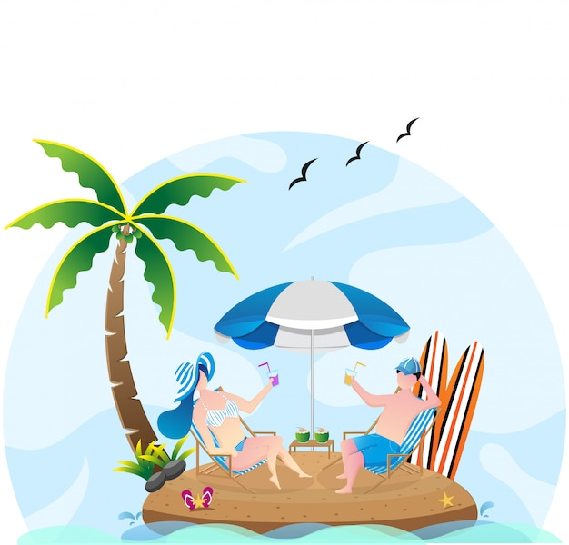 Donna ed uomo che si siedono alla sedia con l'ombrello nell'illustrazione della spiaggia