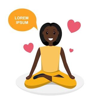 Donna felice che fa il programma di addestramento di sport di yoga