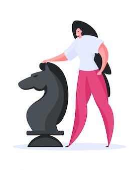 Donna felice che gioca partita a scacchi. illustrazione piatta