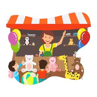 Donna felice che vende l'illustrazione piana di vettore dei giocattoli