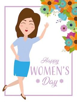 Donna felice con la cartolina d'auguri dei fiori, il giorno delle donne felici