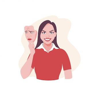 Donna felice del fumetto che tiene l'illustrazione triste del grafico della maschera